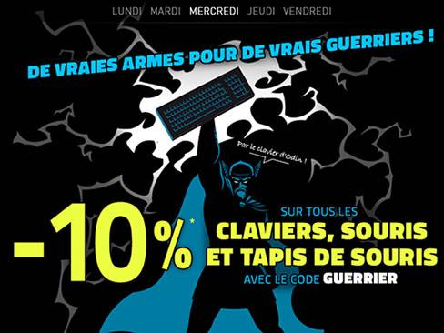 Bons Plans : 10% de remise sur les claviers, souris et tapis pour gamers