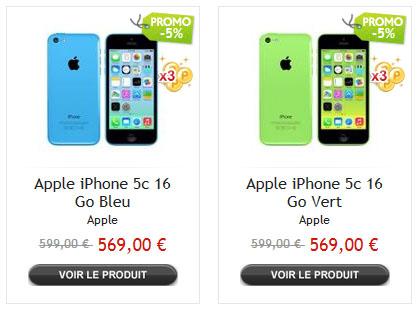 Bons Plans : l'iPhone 5C de 16 Go à 549 euros (livraison gratuite)