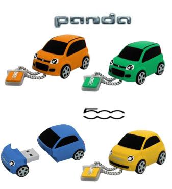 Des clés usb en forme de Fiat 500 et Fiat Panda