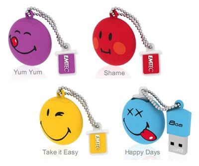 Des clés usb en forme de smilies chez Emtec