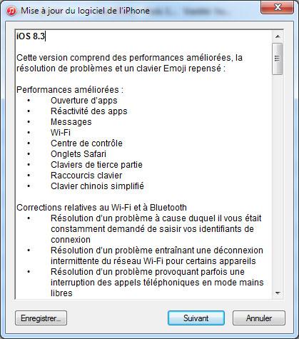 Apple publie la version 8.3 d'iOS pour ses terminaux mobiles