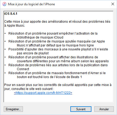 Apple met en ligne iOS 8.4.1 pour ses iDevices