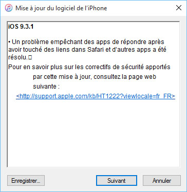 Apple met en ligne iOS 9.3.1