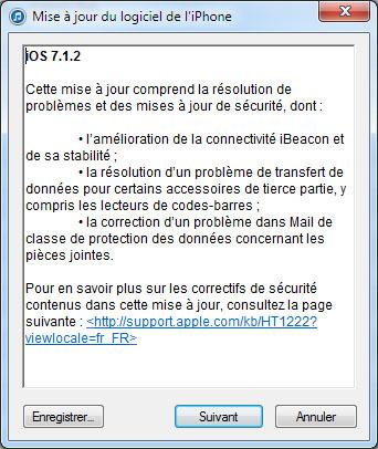 Apple met en ligne iOS 7.1.2 qui corrige plusieurs problèmes