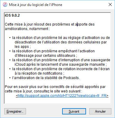 Apple propose déjà la mise à jour 9.0.2 d'iOS pour ses terminaux mobiles