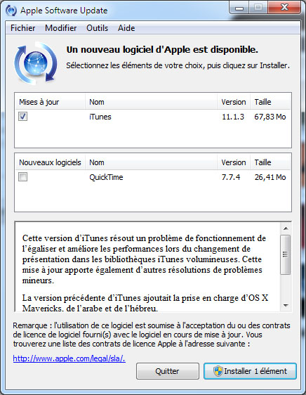 Apple publie la version 11.1.3 d'iTunes