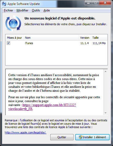 Apple publie la version 11.1.4 de son logiciel iTunes