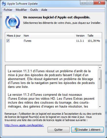 iTunes sort en version 11.3.1 et corrige plusieurs soucis