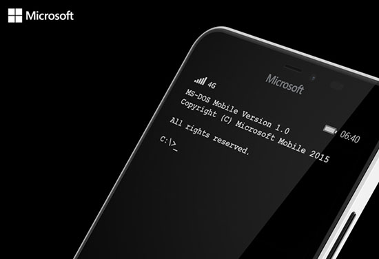 1er avril : Microsoft annonce MS-Dos Mobile pour ses smartphones Lumia
