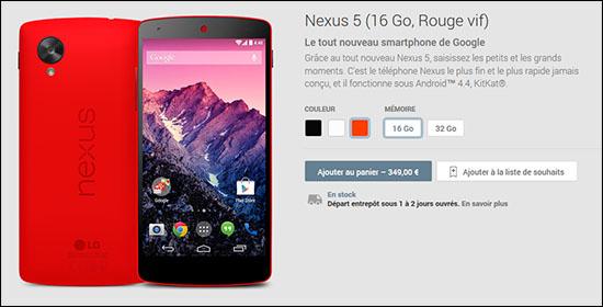 Un Nexus 5 de couleur rouge est maintenant disponible