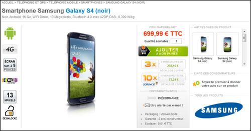 Disponible en précommande, le Galaxy S4 coûte 700 euros !