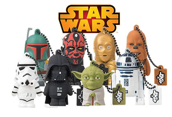 Pour les fans de Star Wars : des clés usb à l'effigie de 8 personnages de la saga (R2D2, Yoda, C3PO, Dark Vador, Chewbacca, etc..)