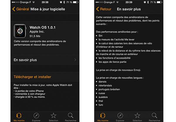 Apple publie la version 1.0.1 de Watch OS pour mettre à jour sa montre