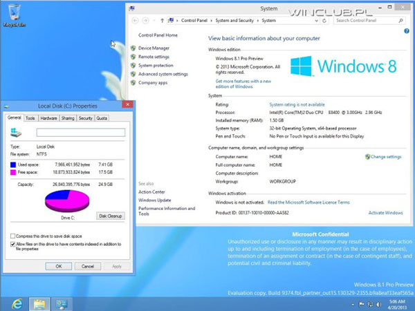 La Build 9374 de Windows 8.1 est en fuite sur le net …