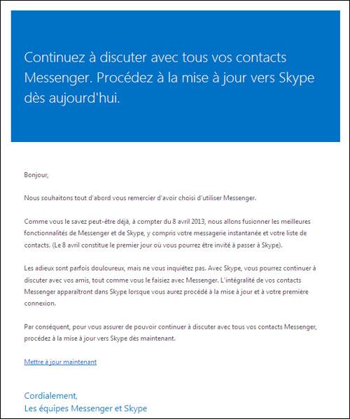 Microsoft incite les utilisateurs à passer à Skype avant le 8 avril