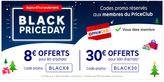 Black Friday : Priceminister offre 8 ou 30 euros de réduction sur les commandes