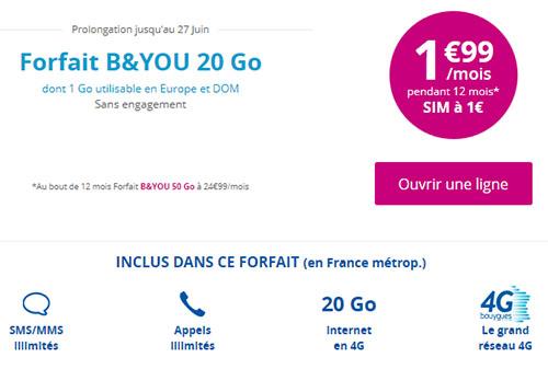 Bon Plan : le forfait B&You 20 Go de Bouygues à 1,99 euros jusqu'au 27 juin