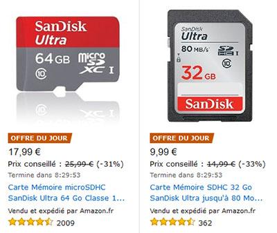 Vente flash : une micro SDXC SanDisk 64 Go (17,99€) et une SDHC SanDisk 32 Go (9,99€)