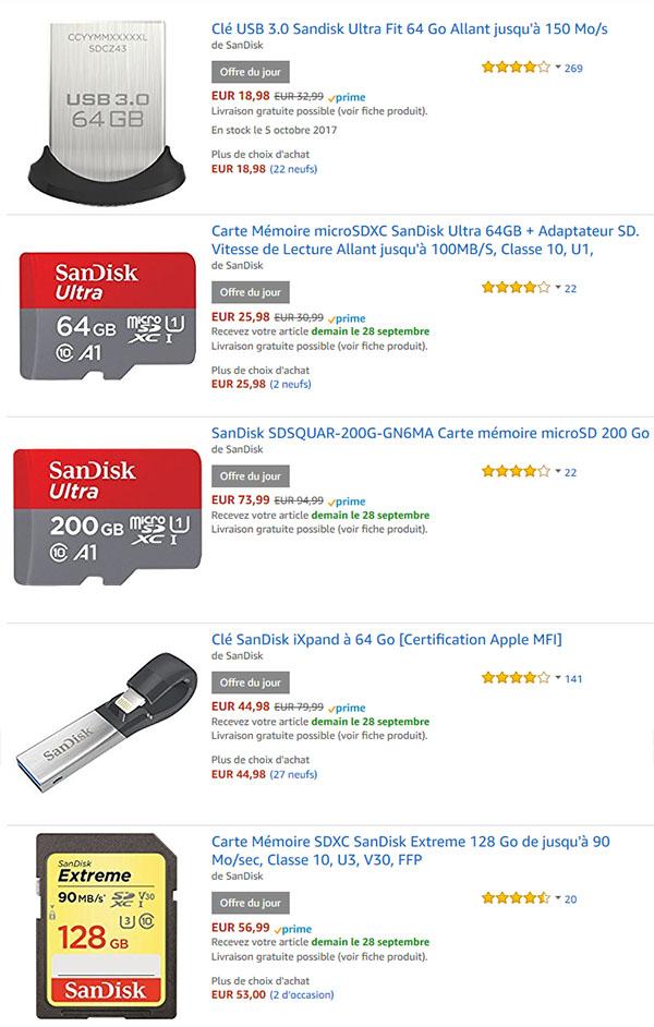 Bon Plan : grosse promo sur des clés usb et cartes mémoires SanDisk
