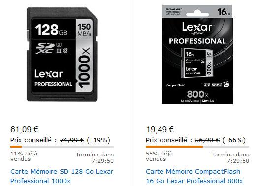 Vente flash : des cartes mémoires LEXAR Compact Flash et SDXC à prix réduits