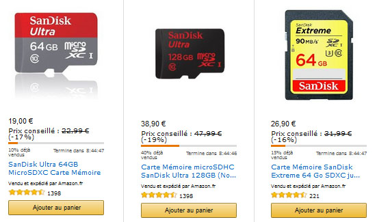 Vente flash : une cargaison de cartes mémoires SanDisk à prix cassés sur Amazon.fr