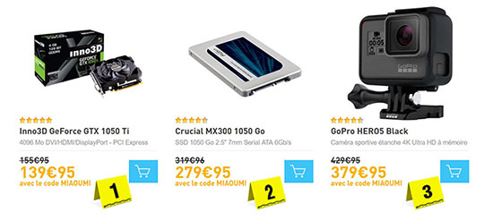 Bons Plans : GeForce GTX 1050 Ti, SSD Crucial MX300 1 To et GoPro HERO5 Black