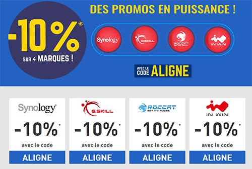 Bon Plan : 10% de remise sur les marques Synology, G-Skill, Roccat et INWin
