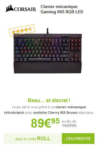 Bon Plan : le clavier gamer Corsair K65 RGB à 89,95 euros