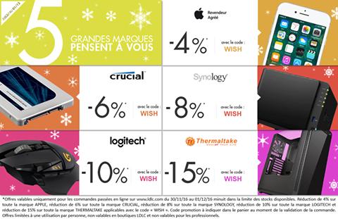 Bons Plans : LDLC offre de 4 à 15% de remise sur les marques Apple, Crucial, Synology, Logitech et Thermaltake