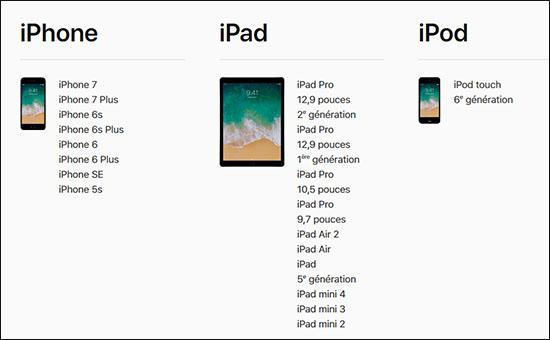 Quels terminaux Apple seront compatibles avec iOS 11 ?