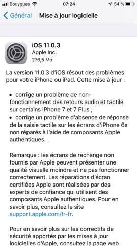 Apple met en ligne iOS 11.0.3 pour corriger plusieurs soucis