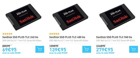 Bon Plan : les SSD SanDisk Plus de 240, 480 et 960 Go en promo