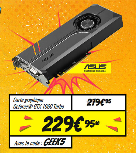 Bon Plan : la GeForce GTX 1060 Turbo d'ASUS en promo à 229,95 euros