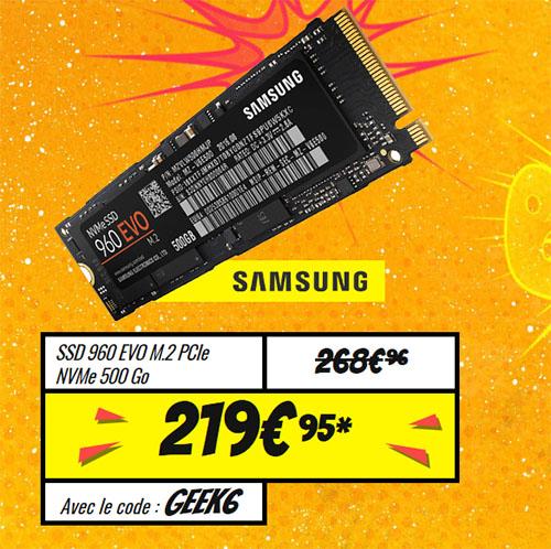 Bon Plan : le SSD Samsung 960 EVO de 500 Go à 219,95 euros