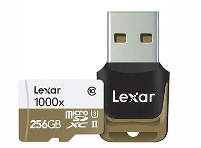 Une micro SDXC UHS-II d'une capacité de 256 Go chez Lexar