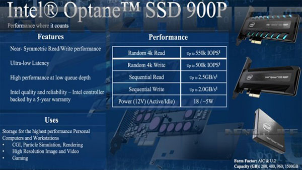 Intel Optane 900p : un autre SSD à base de NAND Flash 3D Point
