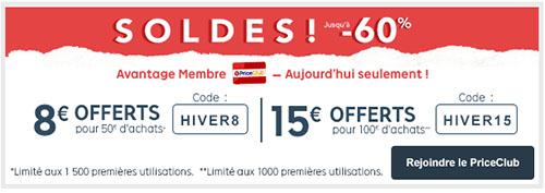 Soldes : 8 ou 15 euros de remise chez  Priceminister