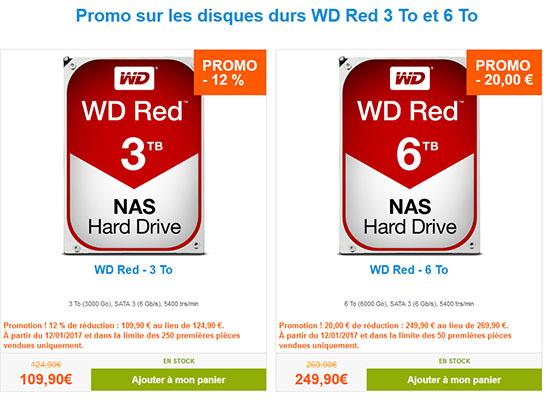 Soldes : les disques durs WD RED de 3 To (109€) et 6 To (249€)