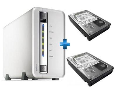 Soldes : un bundle comprenant un NAS 2 baies + 2 disques durs de 2 To chacun pour 199 euros