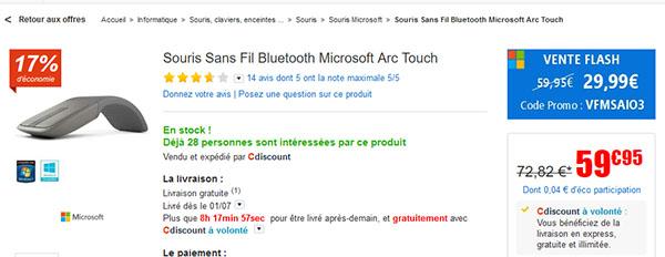 Soldes : la souris Microsoft Arc soldée à 29,99 euros
