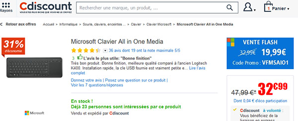 Soldes : 19,99 euros le clavier Microsoft All In One Media pour HTPC