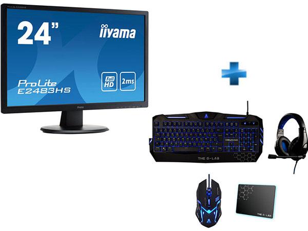 Soldes : un moniteur 24″ IIYAMA + un pack gamer (clavier, souris, casque, tapis) pour 129,99 euros