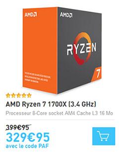 Soldes : le processeur Ryzen 1700X tombe à 329,95 euros