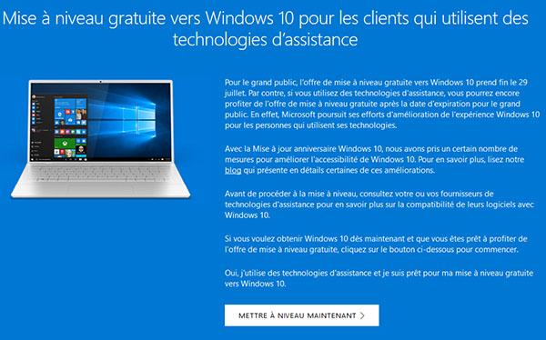 Microsoft va s'attaquer à l'astuce qui permet encore de migrer vers Windows 10 gratuitement