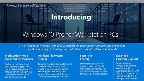 Une version spécifique de Windows 10 pour les stations de travail ?
