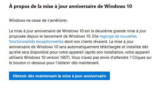 Astuce : comment forcer l'installation de la mise à jour anniversaire de Windows 10 ?