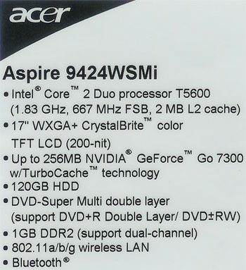 Test du PC portable Acer Aspire 9424 wsmi
