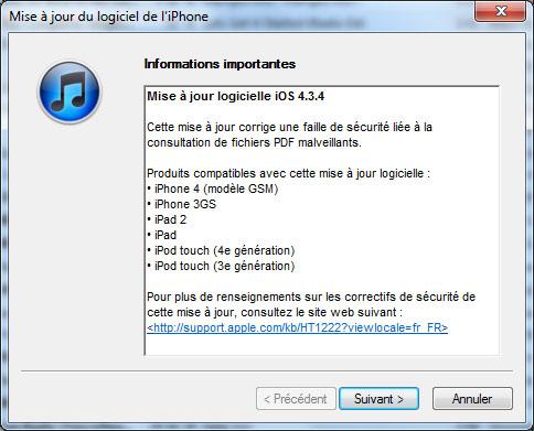Apple diffuse iOS 4.3.4 pour contrer jailbreakme