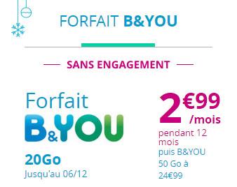 Bon Plan : le forfait B&You 20 Go à 2,99 euros par mois pendant un an (maj : offre prolongée)