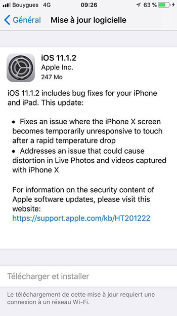 iOS 11.1.2 corrige deux bugs de l'iPhone X